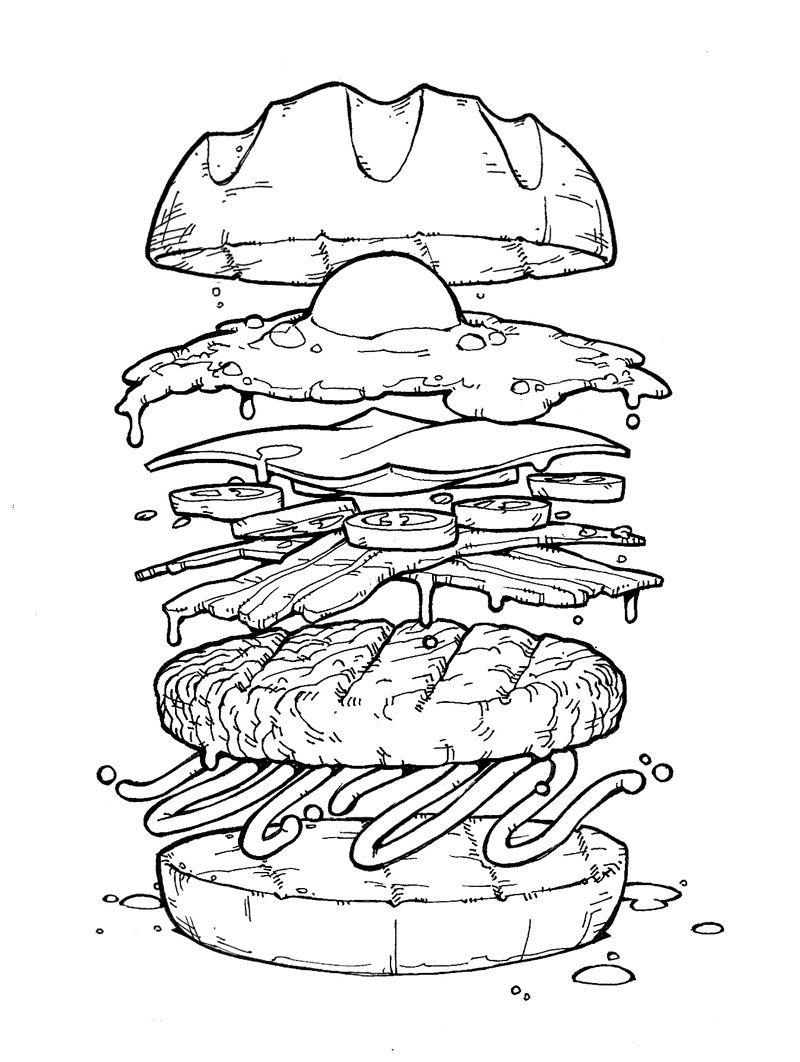 картинки гамбургера раскраска этом