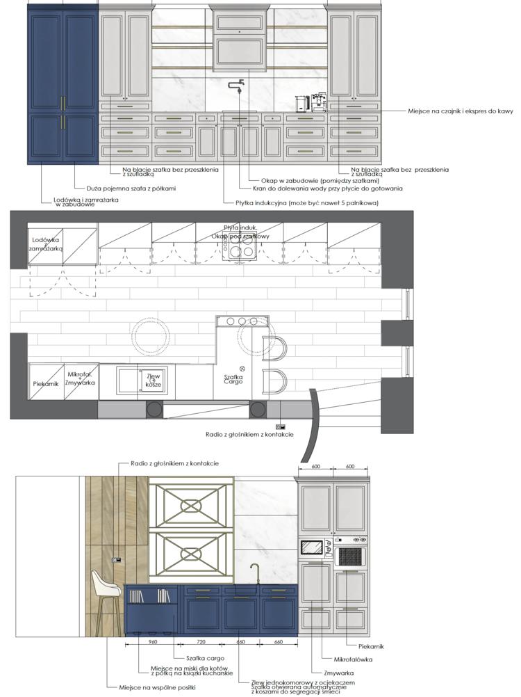 Granatowa Elegancka Kuchnia Stylu Klasycznym Nowojorskim Projekt Navy By House Loves House Loves Dream Kitchens Design House Interior Presentation