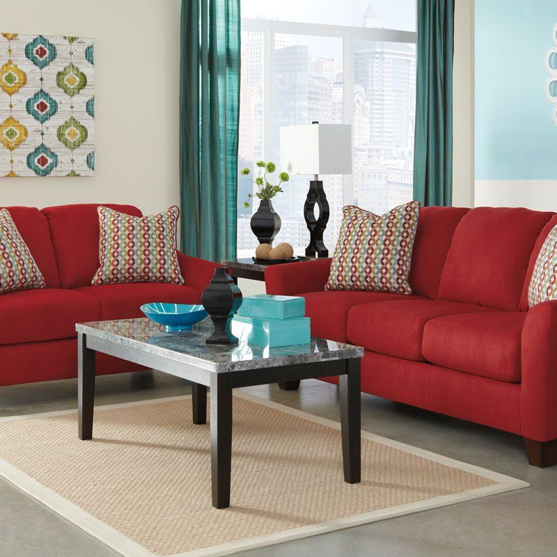 """The comfort of the plush seating and back cushions covered with a soft textured upholstery is stylishly accented by the beautifully shaped flaired arm design making the """"Hannin-Spice"""" upholstery collection the perfect choice to awaken the decor of your living area with a refreshing contemporary look."""