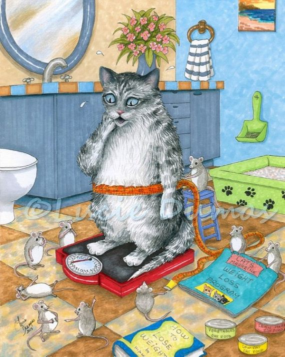 Art Print 8x10 From Funny Bathroom Art Painting Cat 579 Mouse By Lucie Dumas Cat Art Print Cat Wall Art Cat Art