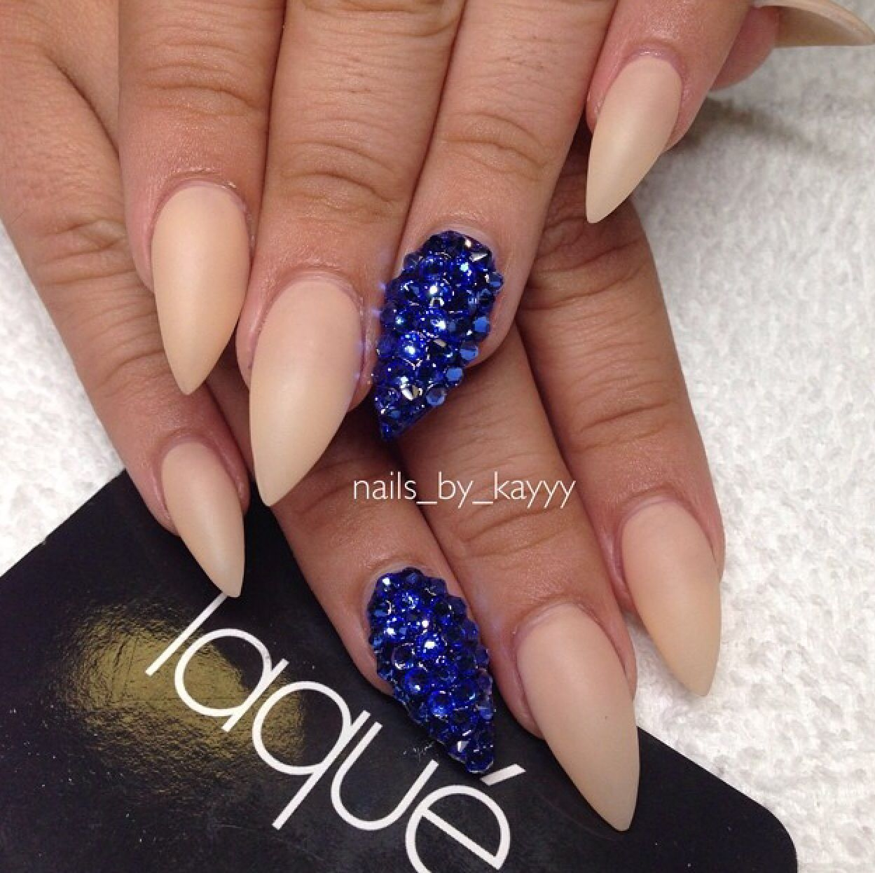 Royal blue and nude