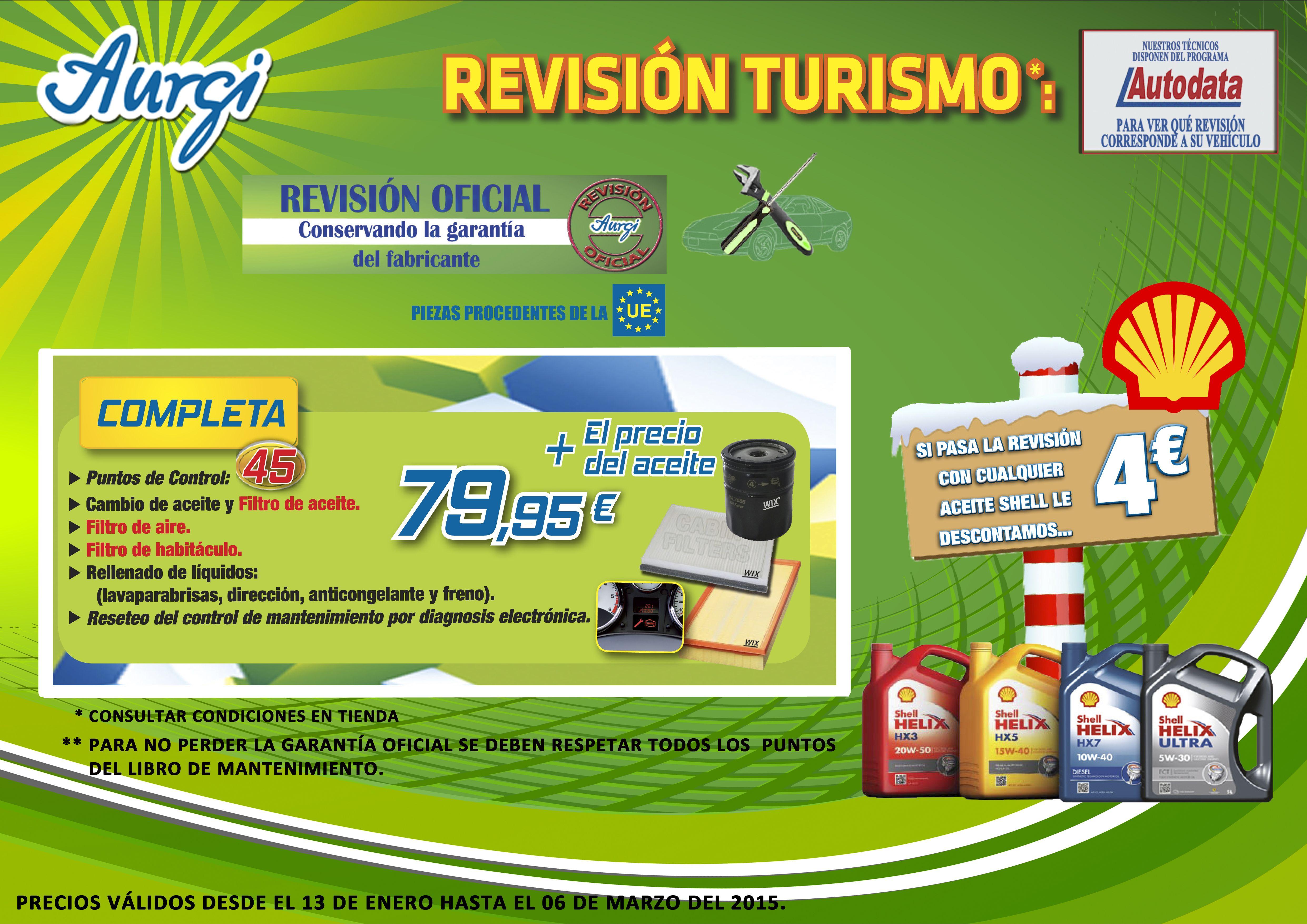 Oferta Rebajas (13 de enero al 06 de marzo 2015) - Revision Completa (cambio del filtro de aceite, filtro de aire y filtro de habitáculo). Más información en www.aurgi.com/