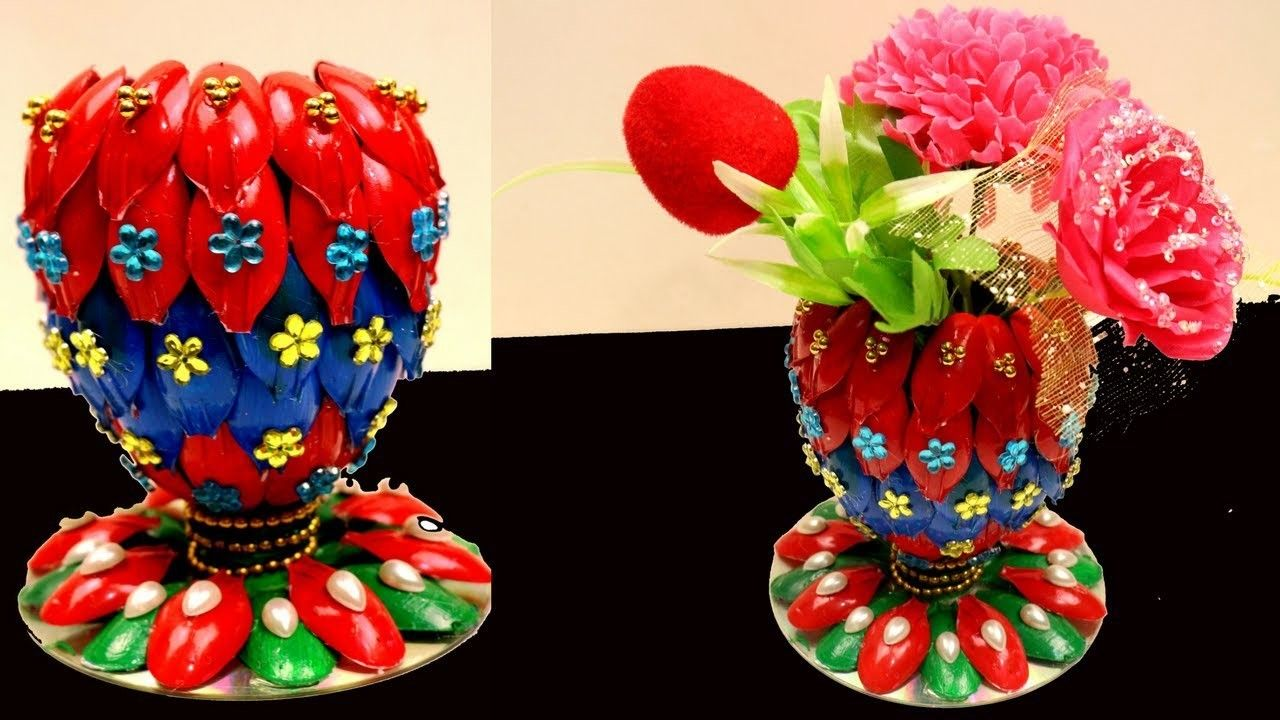 Diy Flower Vase Of Recycled Plastic Spoons Recycling Art And Crafts Ideas Recycled Home Decor Flower Vase Diy Recycled Home Decor Plastic Spoon Crafts