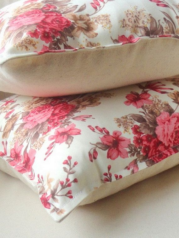 Pink And Beige Brown Floral Sofa Pillow Cover 16x16 By