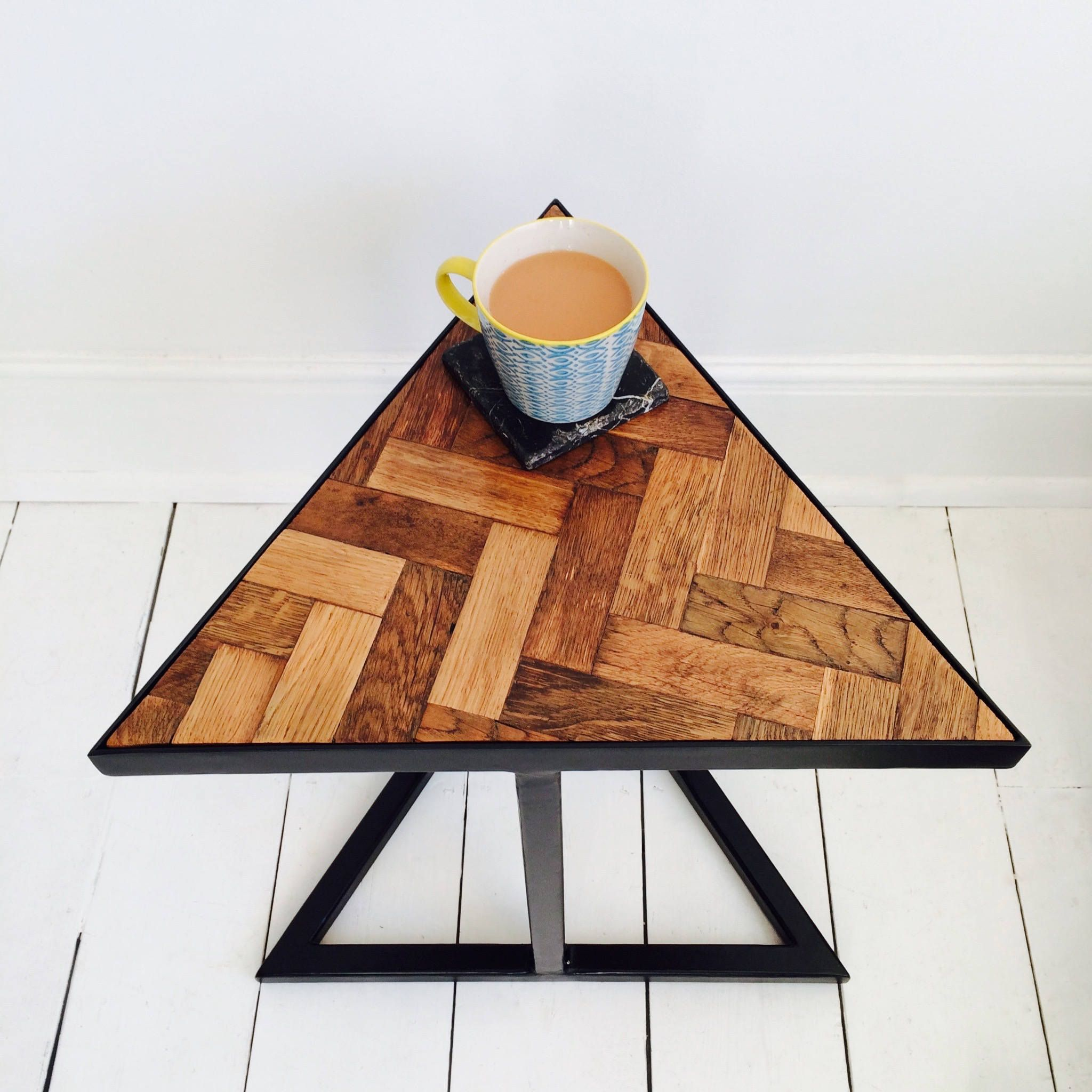 Triangle Side Table, 3 Sided End Table, Reclaimed Wood Oak Parquet