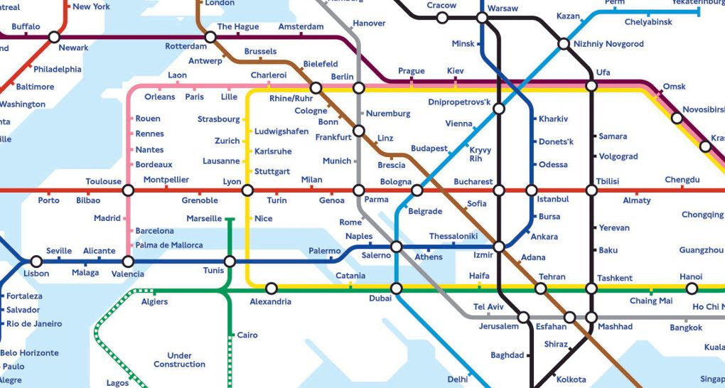 Ams Subway Map.Global Subway Map Shows The Potential Of A Hyperloop Connected World