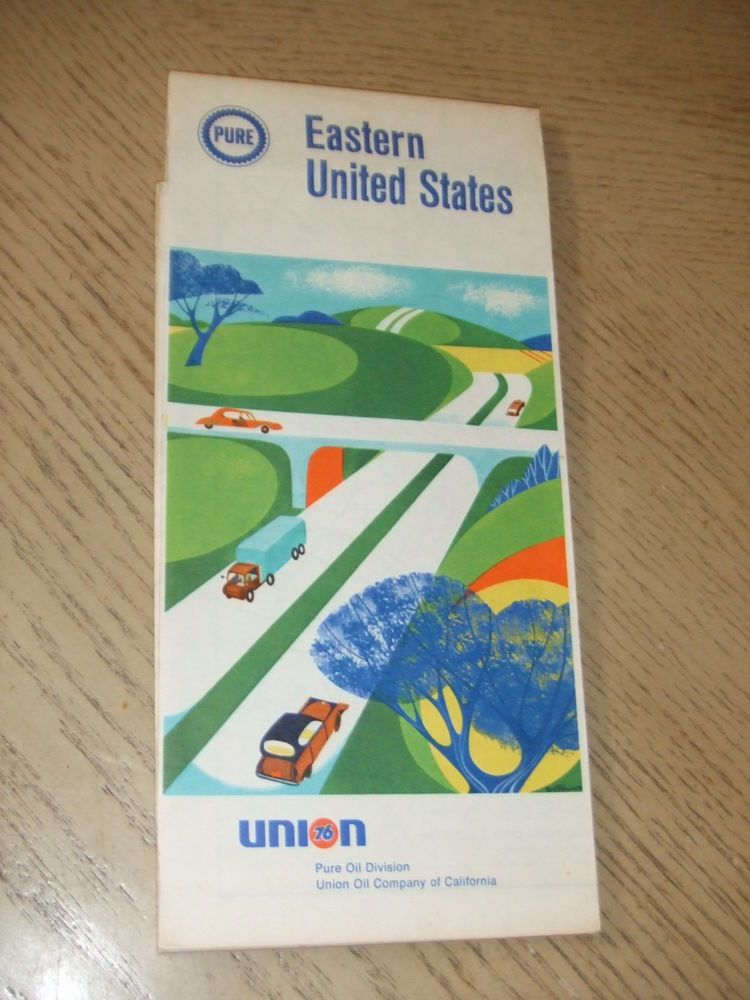 VINTAGE 1968 Pure Oil Gas Eastern United States Highway Road ...