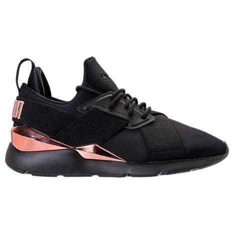 puma women's muse metallic casual shoes black puma
