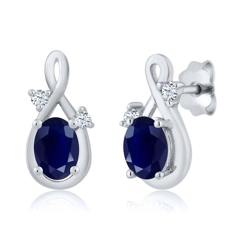 ct oval blue sapphire k white gold pendant earrings set