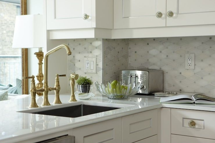 Creamy White Kitchen Cabinets Marble Beveled Countertops And Saltillo Imports Mosaics Long Octagon Tiles Backsplash