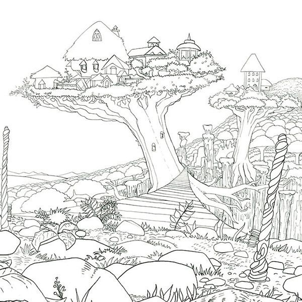 Legendary Worlds: Adult Coloring Book | Ausmalbilder, Baumhaus und ...