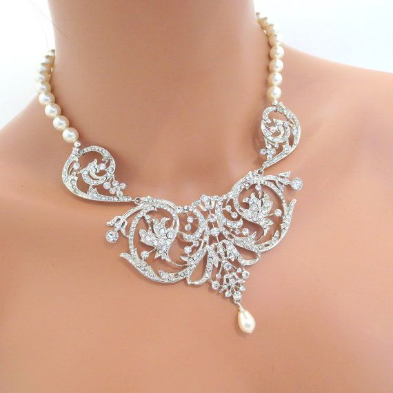 Bridal jewelry set bridal necklace and earrings by treasures570, $150.00