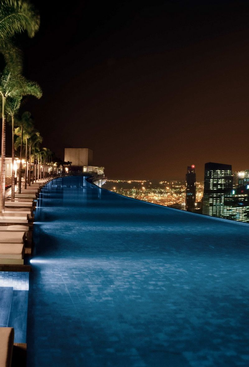 infinity pool singapore night. The Most Amazing Pools All Over World, Infinity Pool At Marina Bay Sands Singapore Night O