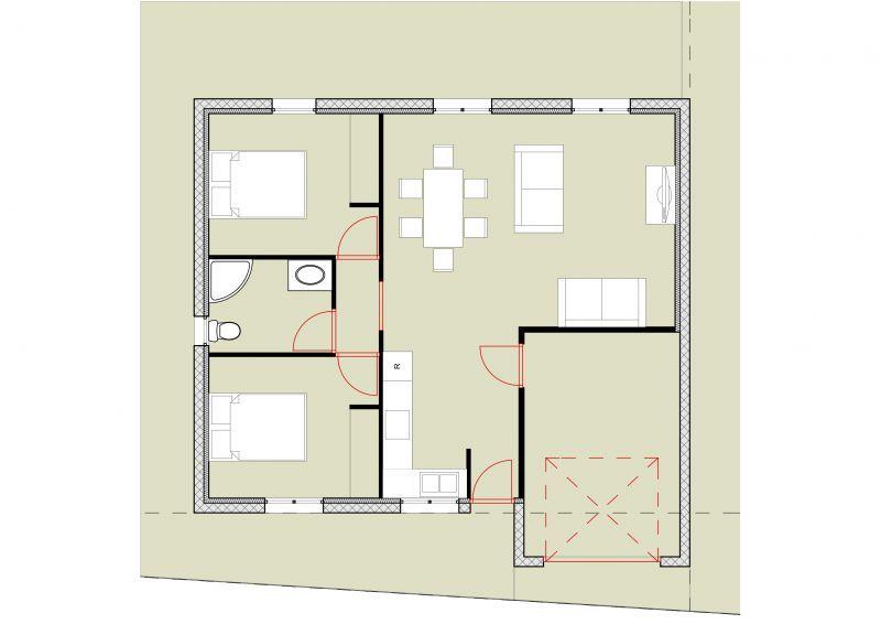 Plan Maison 60m2 Plain Pied Menuiserie Plan Petite Maison Plan Maison Plan Maison 2 Chambres