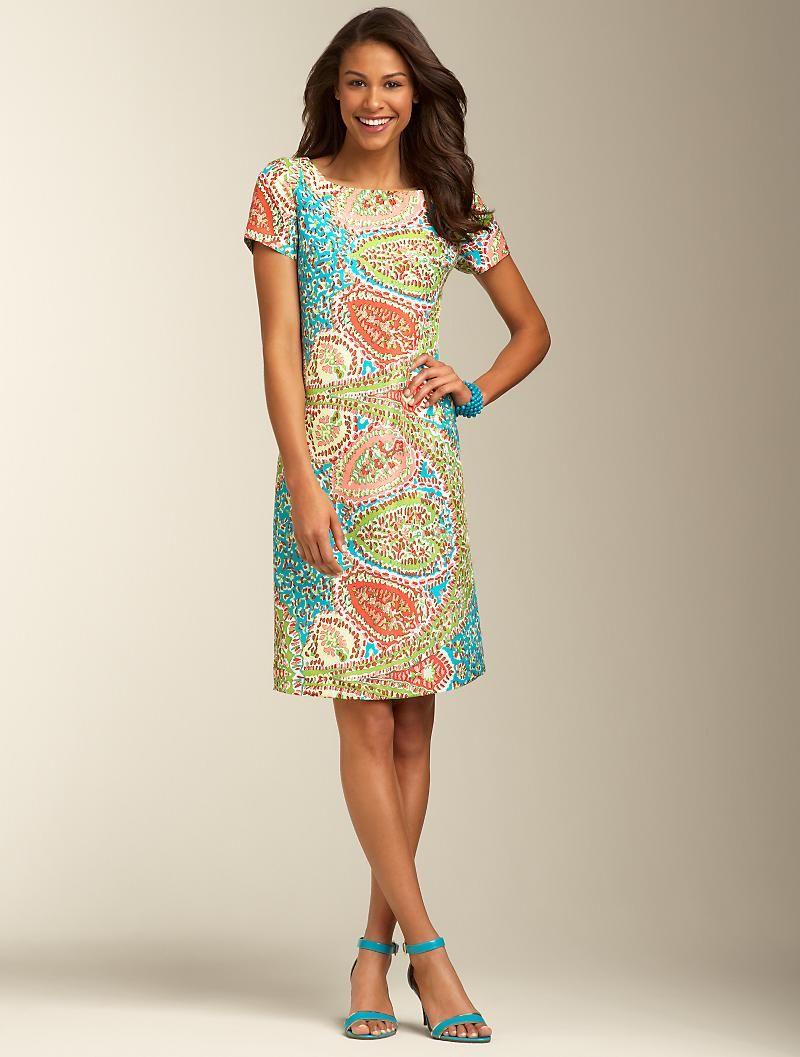 Talbots Seaside Paisley Shift Talbots Dress Silk Shift Dress Clothes For Women [ 1057 x 800 Pixel ]