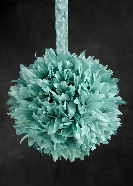 Turquoise silk flower ball - something like this would be neat with our colors: turquoise, gray, and coral.