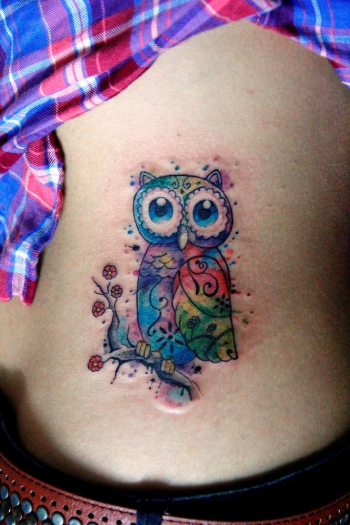 Very Cool And Colorful Watercolor Owl Tattoo Watercolor Owl Tattoos Watercolor Tattoo Owl Watercolor
