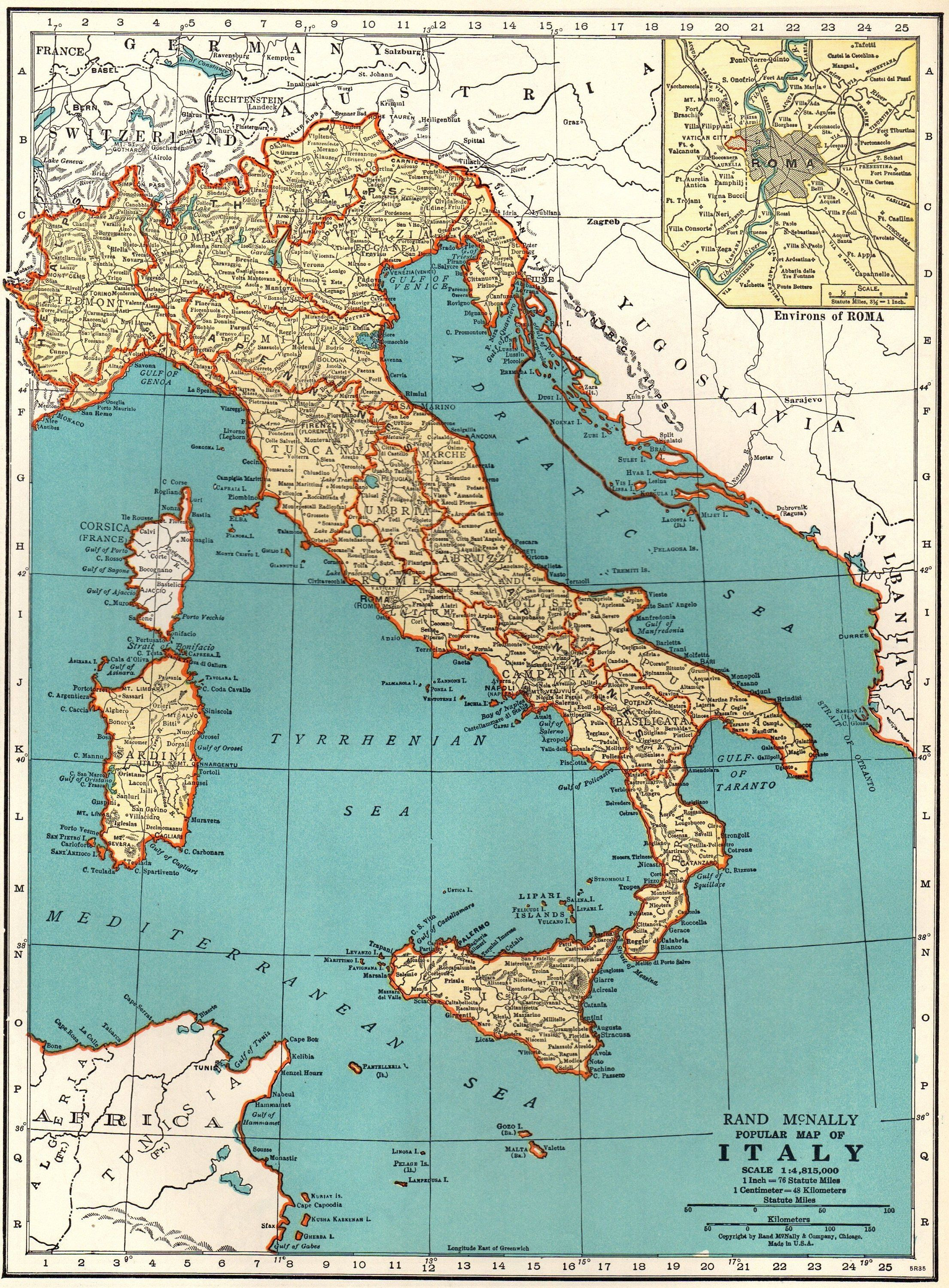 Antique Italy Map 1939 Vintage Map Of Italy Print Travel Gallery