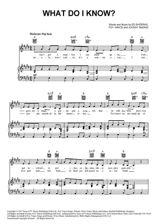 Ed Sheeran What Do I Know Sheet Music Piano Notes Chords Sheet