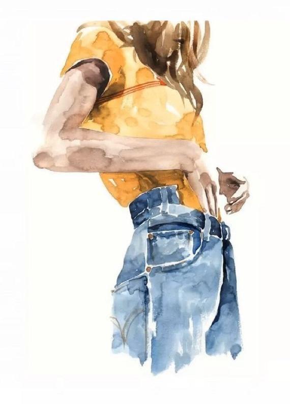 Photo of Fashion Yellow T-Shirt Blue Jeans Print Wall Art Home Decor 300gsm