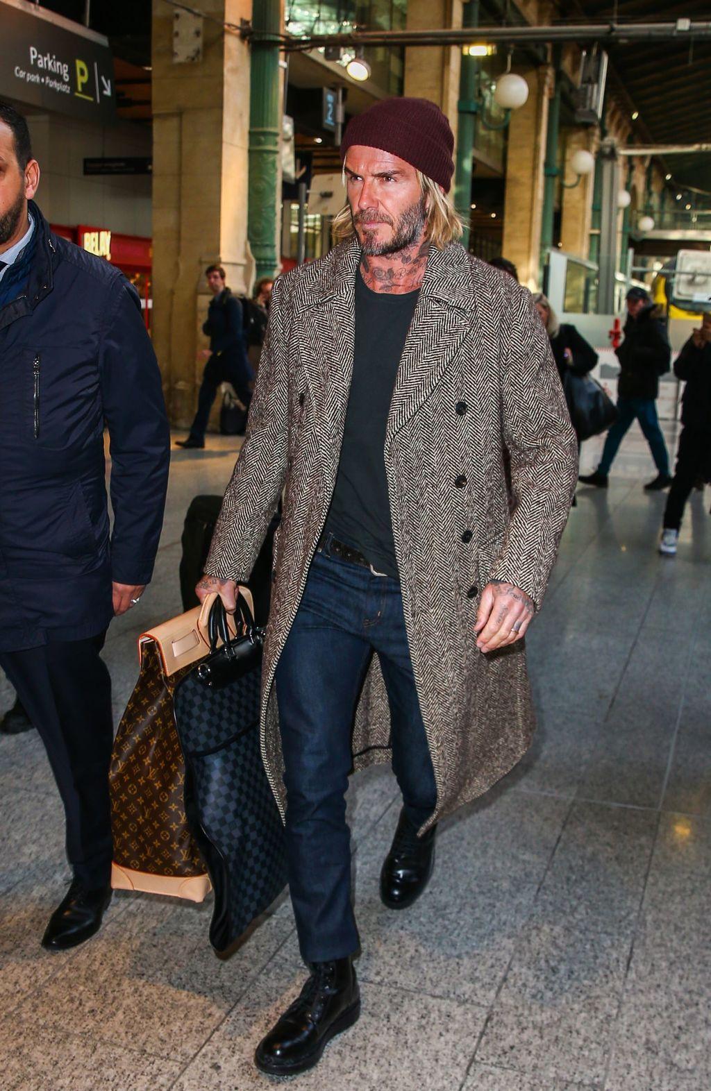 save off 4bf1f 0aec4 David Beckham arrive à Paris, Gare du Nord le 17 janvier 2018.