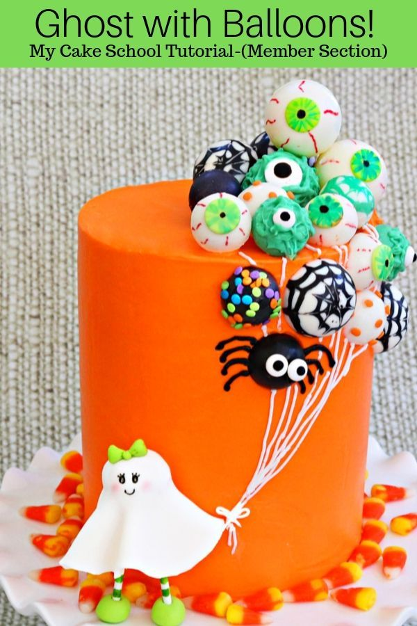 Ghost with Balloons Cake- A Halloween Cake Video Tutorial #cakedesigns