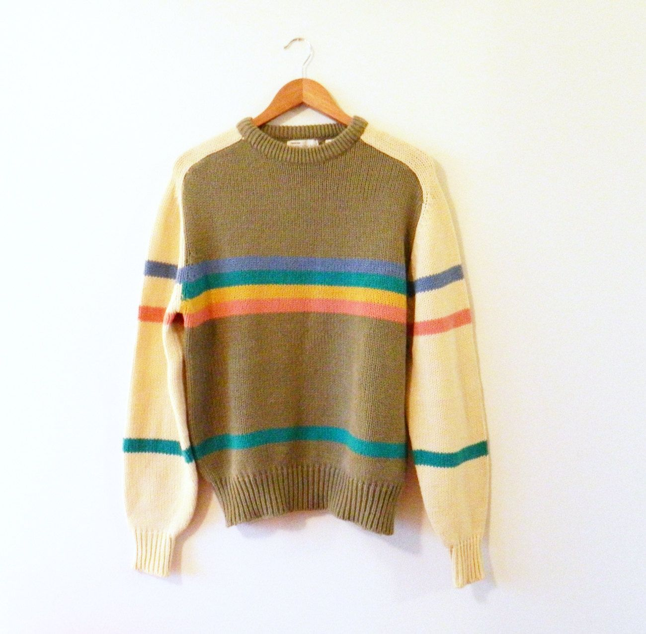 Rainbow Striped Vintage Sweater / Vintage Oversized Sweater / Unisex Colorful Rad 80s Jumper by thehappyforest on Etsy