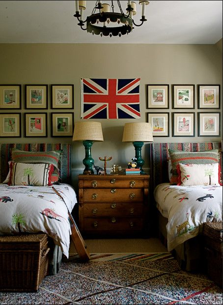 The boys room will look and feel nothing like this, but I want to have a dresser/nightstand in between the two beds with two lamps!
