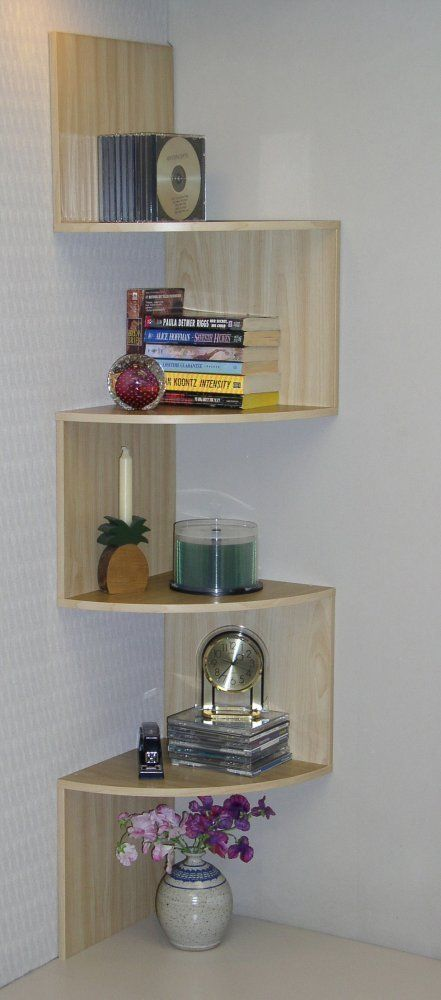 Corner Bookshelf Maple 4D Concepts Multi Shelf Staggering Spacesaver Bookcase Modern
