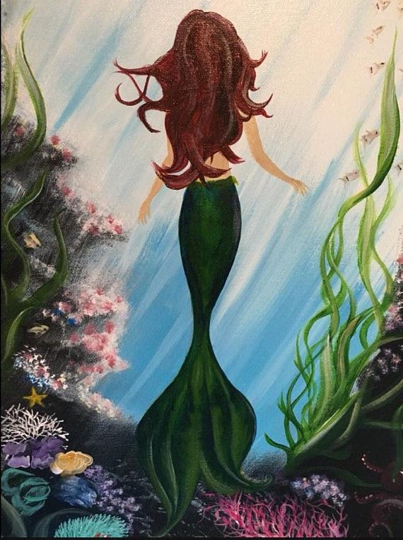 Mermaid Decor Mermaid Painting Mermaid Artwork Stretched