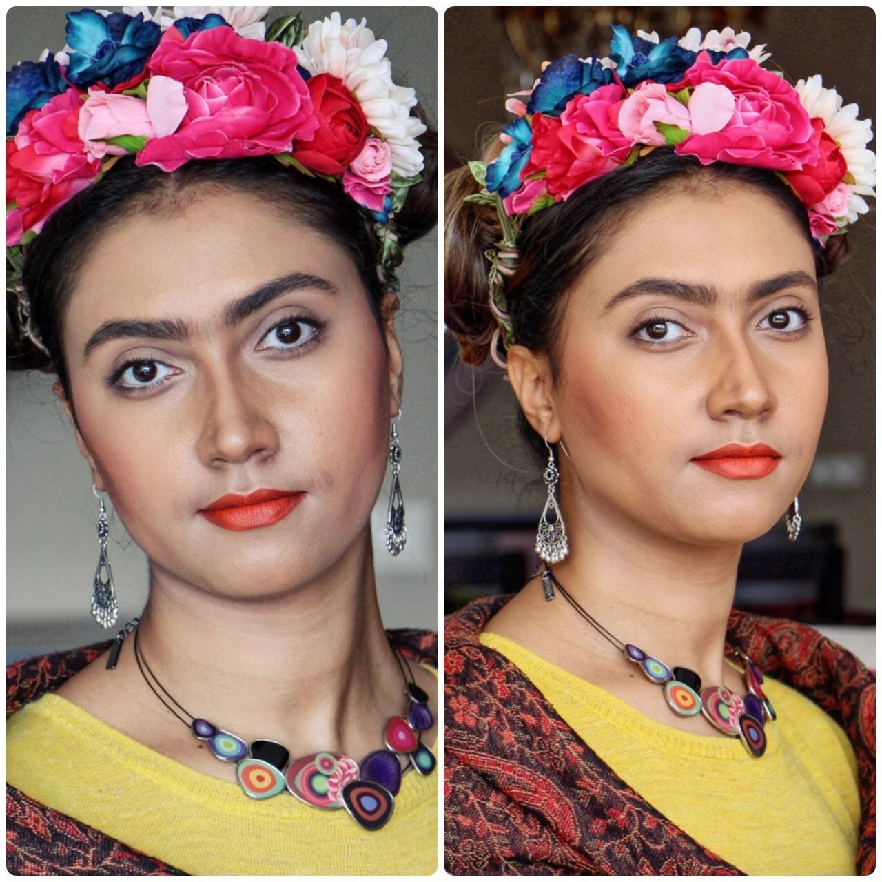 Frida Kahlo makeup and hair look Frida kahlo makeup