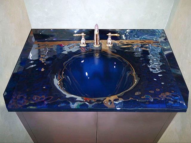 Custom Bathroom Vanities Montreal custom glass bath vanity top with integrated sink | sinks gallery