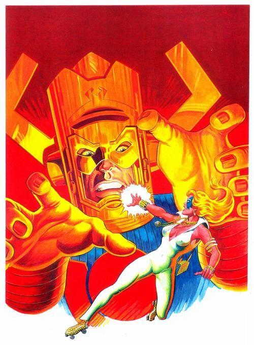 Dazzler vs. Galactus por Jean Frisano (portada de Titans #44). ¿De verdad pensaba Dazzler que tenía alguna posibilidad de derrotar a Galactus?