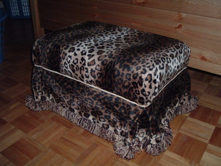 Leopard Print Chair Ottoman With And
