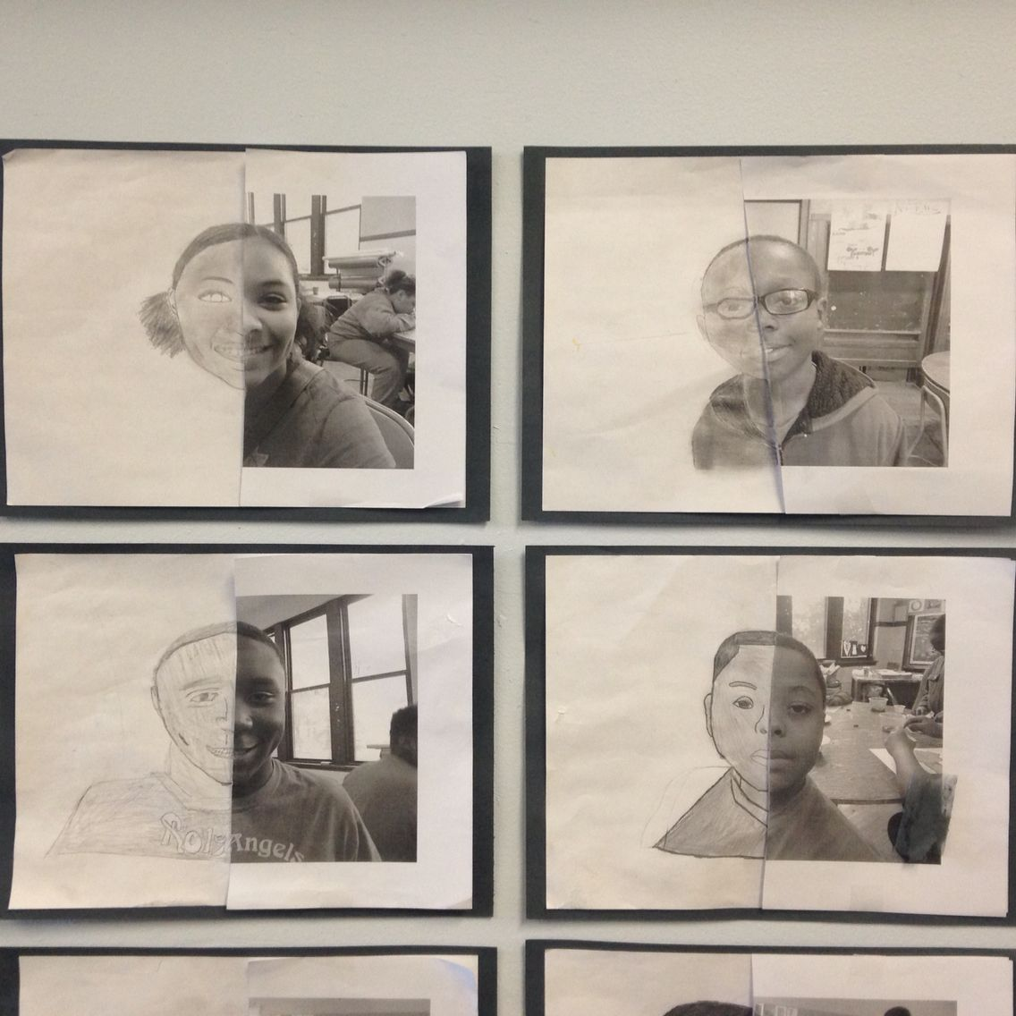 Finish your self portraits in pencil 6-8 grades explore value and true examination of facial structure