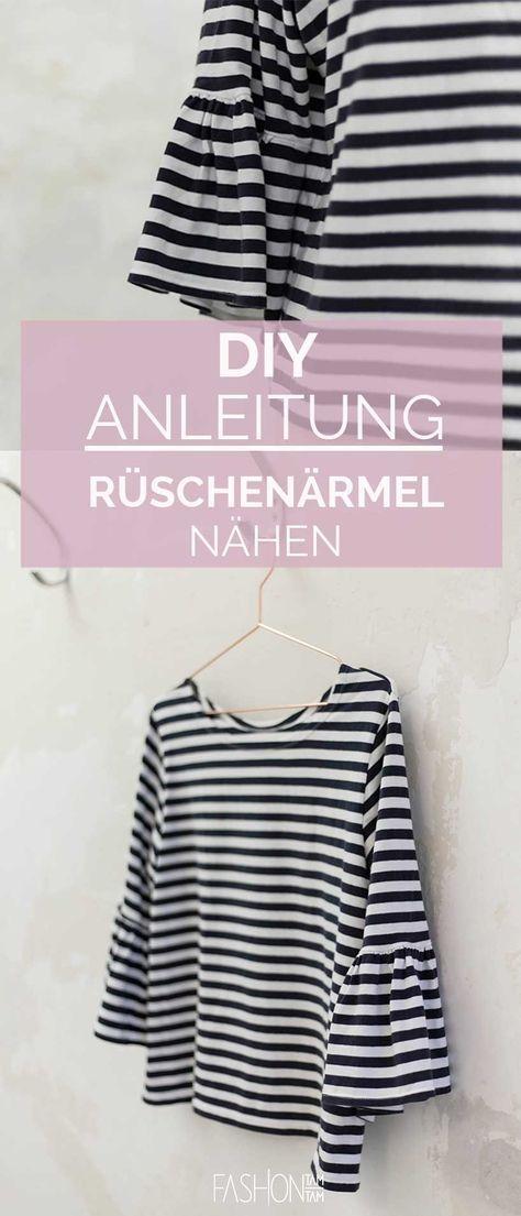 DIY: T-Shirt mit Rüschenärmel aufpeppen | Streifenshirt, Nähen für ...