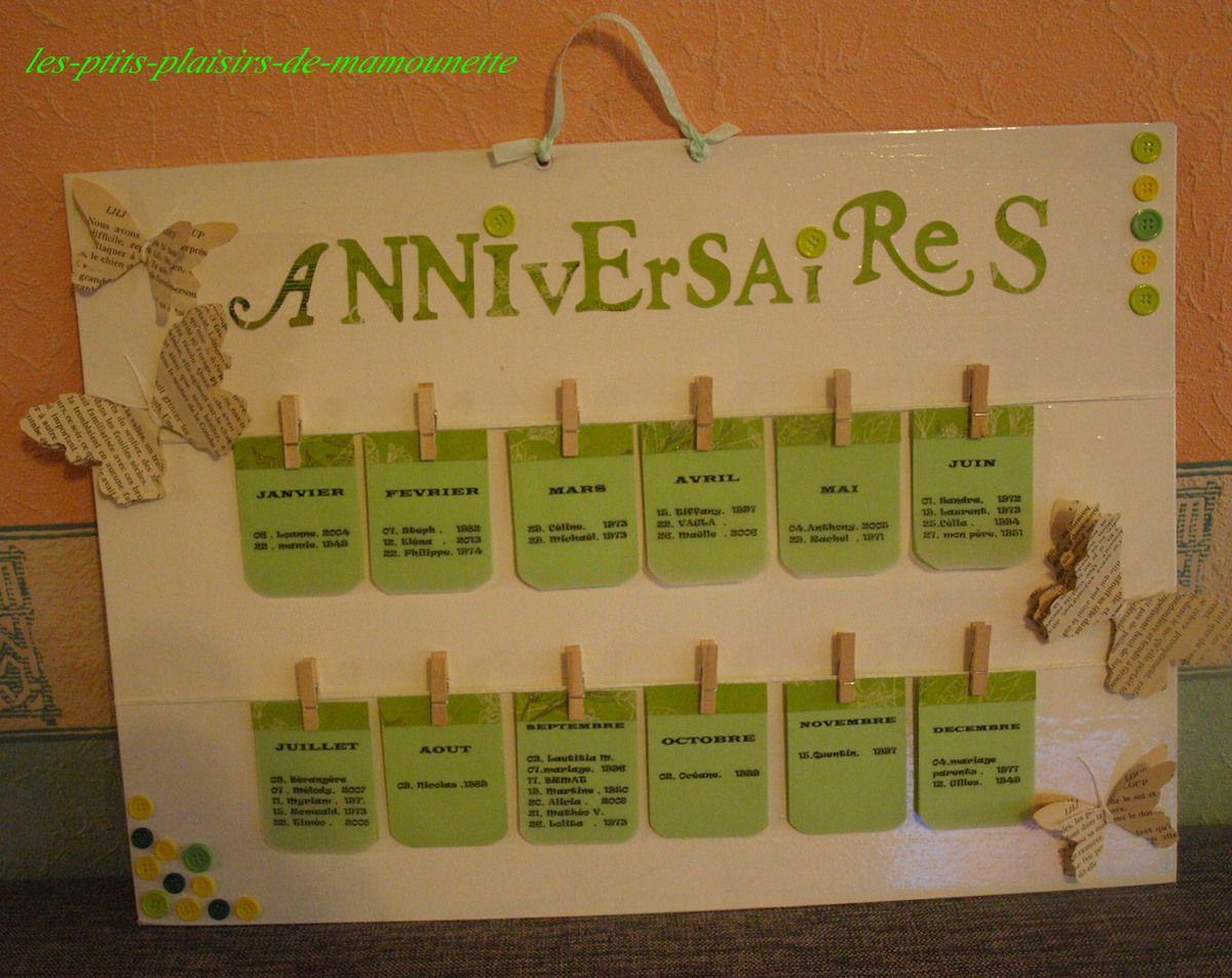 Populaire Calendrier pour ne plus oublier les anniversaires : Décorations  RT64