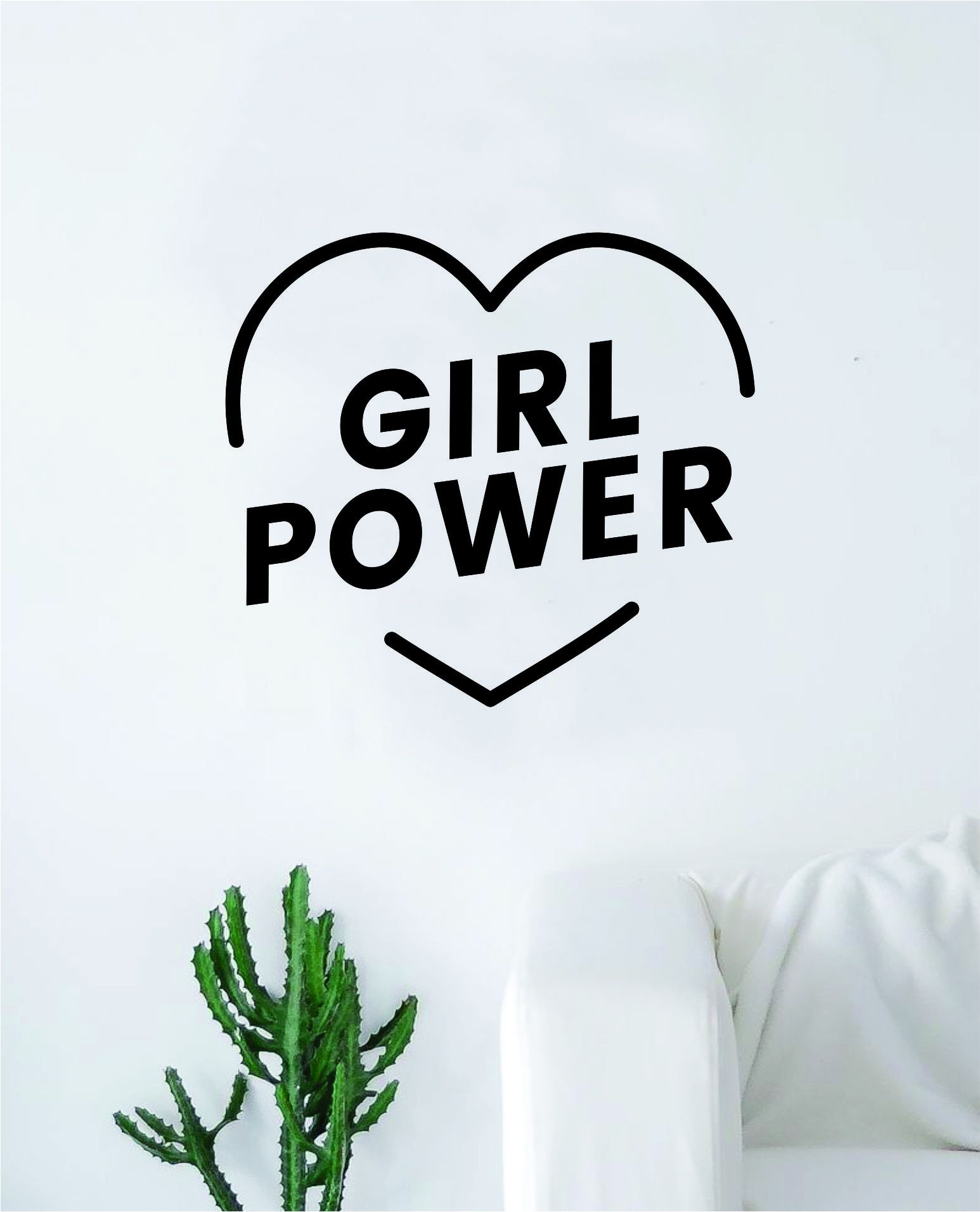 """Girl Power The latest in home decorating. Beautiful wall vinyl decals, that are simple to apply, are a great accent piece for any room, come in an array of colors, and are a cheap alternative to a custom paint job.Default color is black MEASUREMENTS:28"""" x 25"""" About Our Wall Decals:* Each decal is made of high quality, self-adhesive and waterproof vinyl.* Our vinyl is rated to last 7 years outdoors and even longer indoors.* Decals can be applied to any clean, smooth and flat surface. Put them on"""
