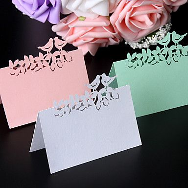 40pcs/lots+Love+Birds+Laser+Cut+Wedding+Favors+Party+Supplies+Table+Name+Place+Cards+Table+Wedding+Cards+–+USD+$+6.99