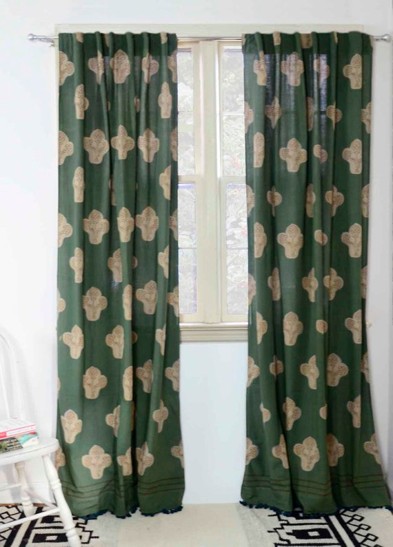 Bohemian Curtains Green Drapes Window Panels Bedroom Window