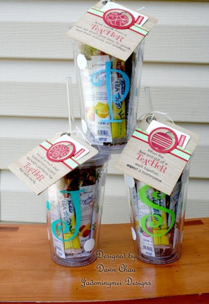 """Monogrammed cup with goodies inside.  Good for a friend, teacher, or for anyone for a """"thank you"""" gift."""