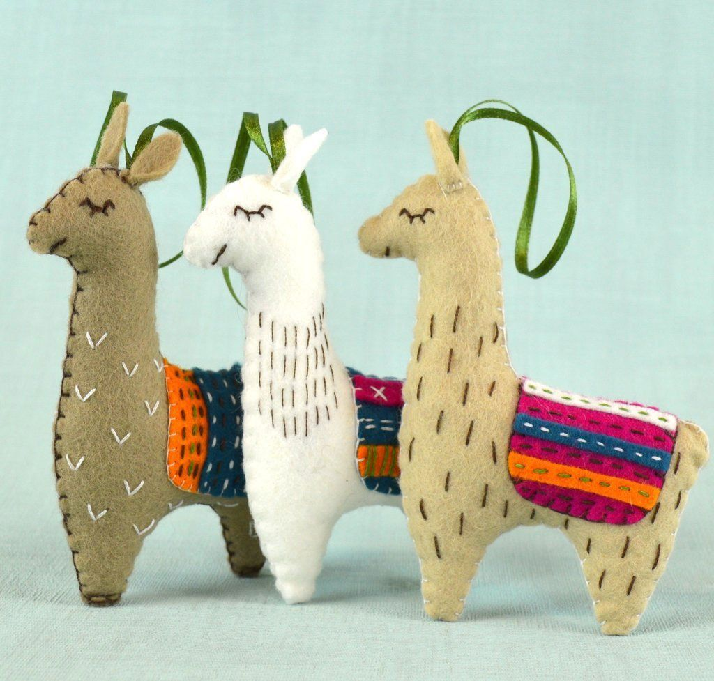 Hand Stitched Felt Craft Kit - Three Llamas