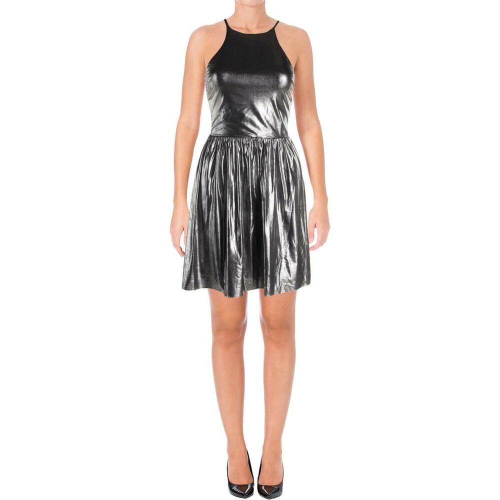 JTANIB Cocktail Party Dresses for Women A Line Cold Shoulder V Neck Skater for