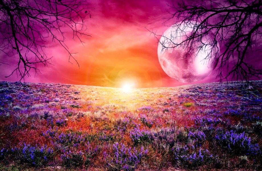 Colorful Full Moon 4k Ultra Hd Wallpaper 4k Wallpaper Net Landscape Wallpaper Fantasy Landscape Sunrise Wallpaper