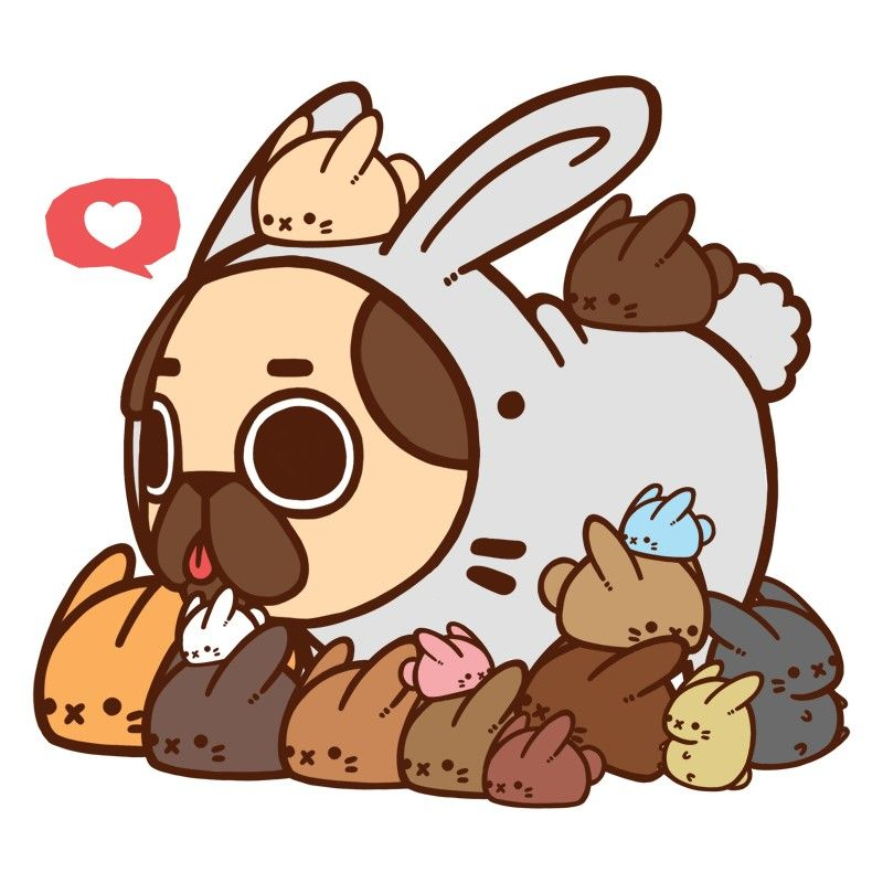 Puglie with wabbits () Cute animal
