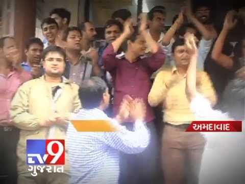 In Ahmedabad , BSNL employees on strike against the alleged discriminatory policies of BSNL management.