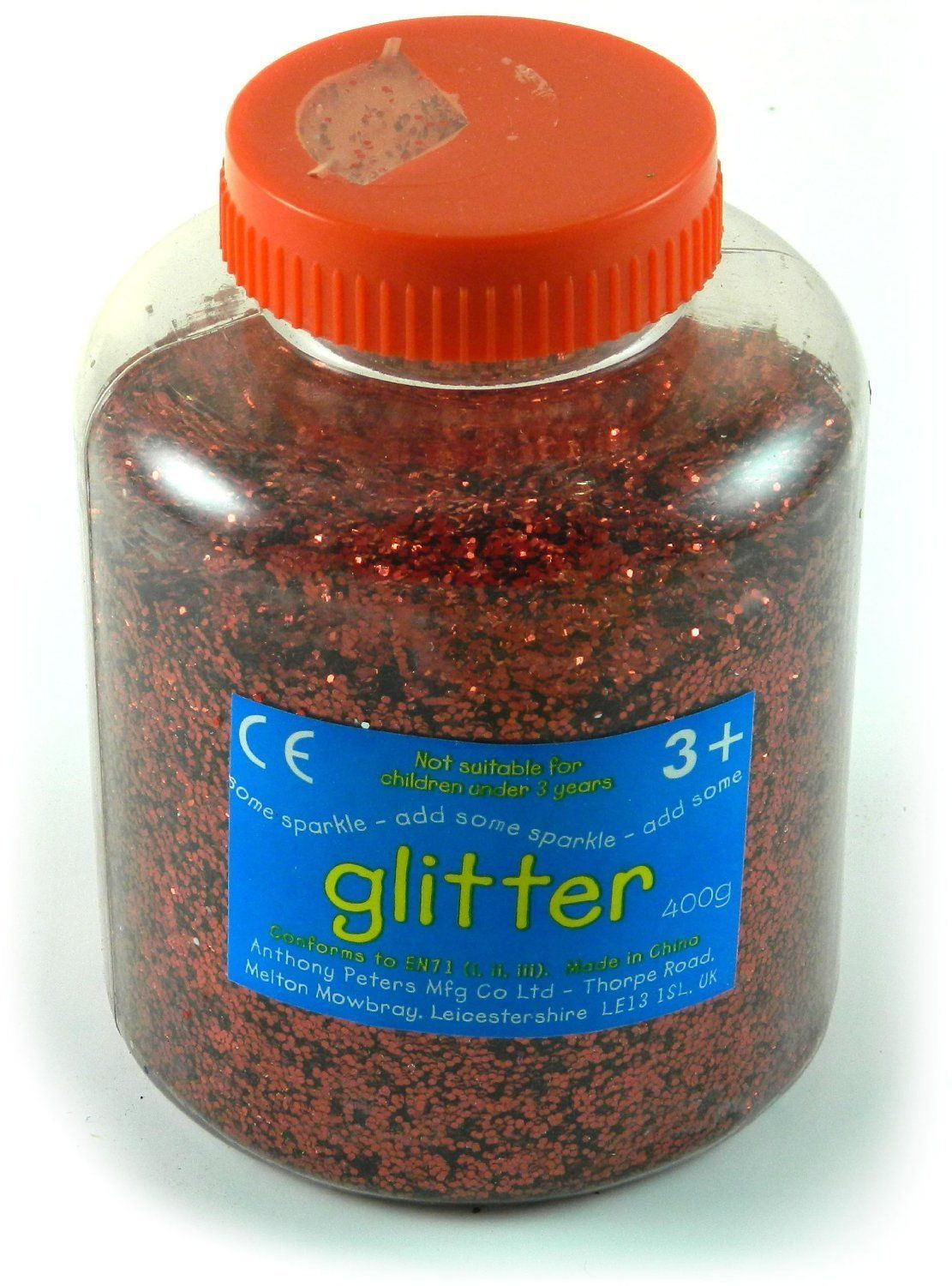Red Art and Craft Glitter 400 g Tub