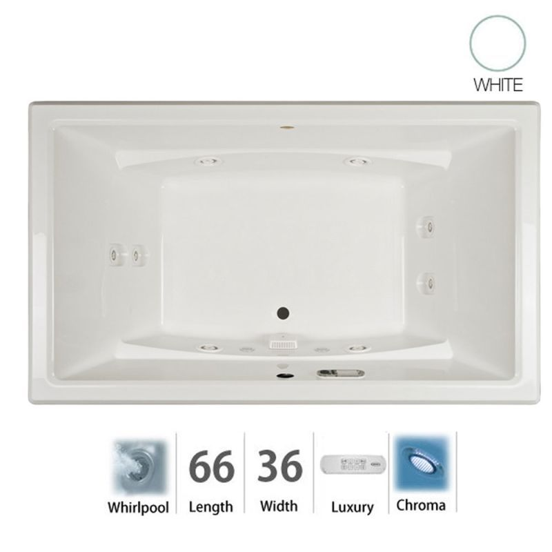 """Jacuzzi ACE6636WCR4CH Acero 66"""" Whirlpool Bathtub for Drop In / Undermount Insta White Tub Whirlpool Drop-In"""