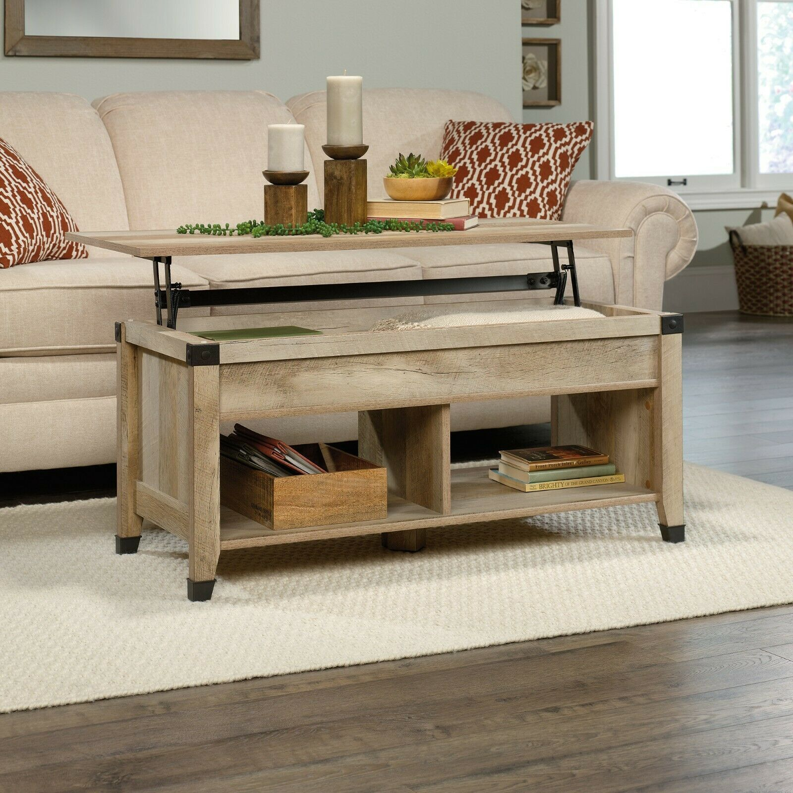 Coffee table w lift top trunk flip up storage cubes wood