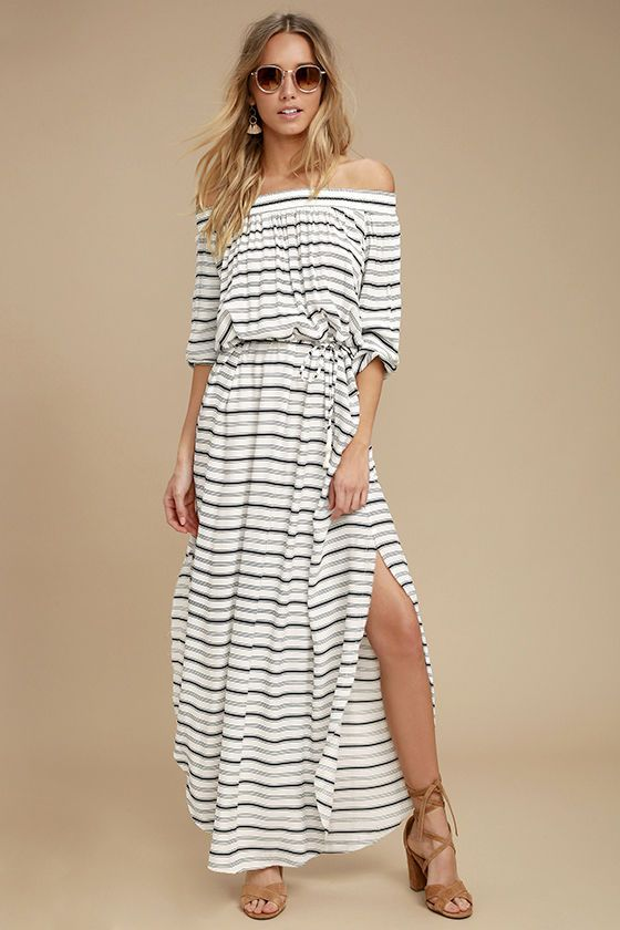 Faithfull The Brand Rae Black And White Striped Maxi Dress